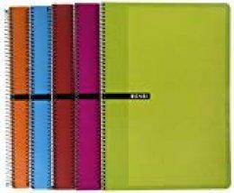 Enri 100430066 - Cuaderno, 4 x 4 mm, con margen, 80 hojas, tapas duras, pack con 5 unidades (surtido)