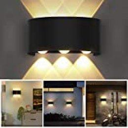 OUSFOT Aplique Pared Interior Lámpara de Pared IP54 Impermeable, Blanco Cálido 6000K Ideal para Salón Pasillo Escalera Dormitorio Baño(Aplique Negro)