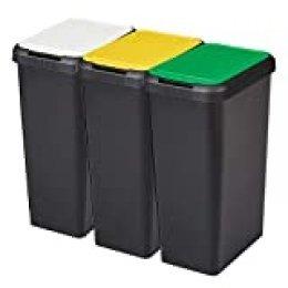 Tontarelli Set 3 Cubos de Reciclaje Touch&Lift 135 litros Color Negro con Tapa Amarilla/Verde/Blanca, Triple