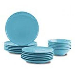 AmazonBasics - Vajilla de gres para 6 personas, color Azul claro, 18 piezas