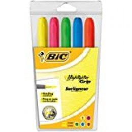 BIC Highlighter Grip Marcadores Punta Ajustable - colores Surtidos, Blíster de 5 unidades