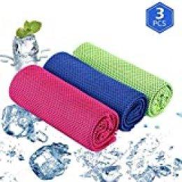 Ajcoflt 3 Pcs Toallas de enfriamiento de Playa Manta de Yoga Ultrafina para Entrenamiento Deportivo Fitness Gimnasio Pilates Viajes Toallas para Acampar (Gris)