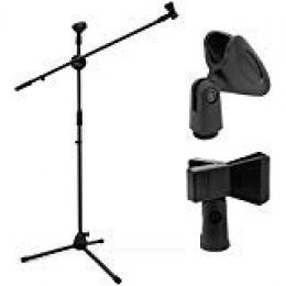 Ohuhu Trípode Boom soporte de micrófono con doble clip de micrófono, trípode plegable, soporte para boca, ultraligero para fácil transporte, color negro