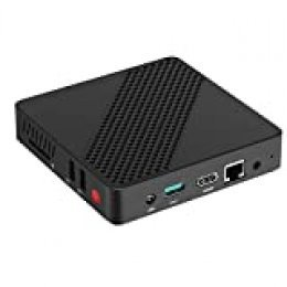 Mini PC Fanless Procesador Intel Celeron N3350 (hasta 2.4GHz) 4GB DDR4/64GB eMMC Mini Desktop Computer 2.4G+5.8G Dual WiFi HDMI VGA BT4.2 3×USB3.0 Compatible con Ubuntu y Linux Auto Power On