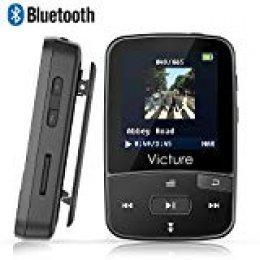 Victure Reproductor MP3 Bluetooth 4.1 con Clip Reproductor de Música para el Deporte Pantalla TFT de 1.5 pulgadas, FM Radio, Podometro, Auriculares, Soporte SD USB TF hasta 64 GB Tarjeta