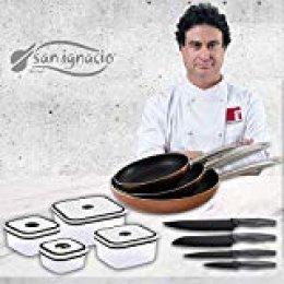 San Ignacio Professional Chef Copper Set de 3 sartenes + 4 recipientes herméticos + 4 Cuchillos de Cocina