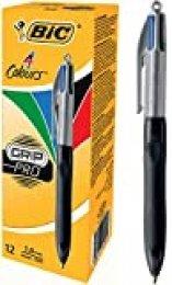 BIC Grip Pro 4 Colours - Pack de 12 bolígrafos con zona de agarre, tinta multicolor