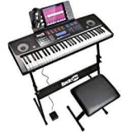 RockJam RJ761 61 Kit de teclado de piano, piano digital 61 clave, Banco teclado, soporte de teclado, auriculares, pedal de sustain y simplemente Aplicación Piano
