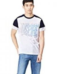 Marca Amazon - find. Camiseta para Hombre, Blanco (White), S, Label: S