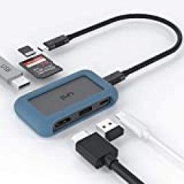 uni USB C Hub 6-en-1, Adaptador USB C, con Adaptador HDMI 4K, 2 USB 3.0, USB-C PD 100W, Lector de Tarjetas SD/MicroSD, Compatible para MacBook Pro, iPad Pro, Chromebook, XPS, etc.
