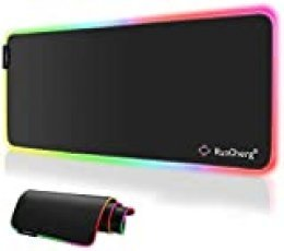 RuoCherg Alfombrilla Gaming XL, RGB Alfombrilla de Ratón para Juegos LED Grandes 10 Modos de Iluminación Superficie Impermeable Base de Goma Antideslizante para Jugadores, PC y Portátiles