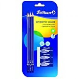 Pelikan 24005807 - Kit 3 lápices de grafito HB y 3 borrador AL30, conjunto escolar, cuerpo pintado en madera certificado FSC con sección hexagonal resistente a las roturas