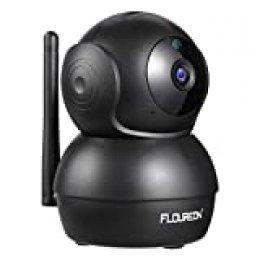 FLOUREON 1080P Cámara de Seguridad, IP Cámara Interna Inalámbrica, Detección de Humano Movimiento, Audio Bidireccional, Panorámica/Inclinación, Seguimiento Inteligente, Acceso Remoto, Negro