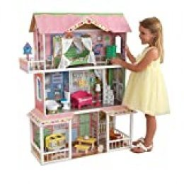 KidKraft- Sweet Savannah Casa de muñecos de madera con muebles y accesorios incluidos, 3 pisos, para muñecos de 30 cm (65851)