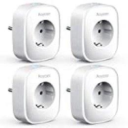 Aoycocr - Enchufe inteligente con WiFi, para medir el consumo de energía, compatible con Alexa y Google Home, control remoto, función de temporizador, sin hub, 4 unidades