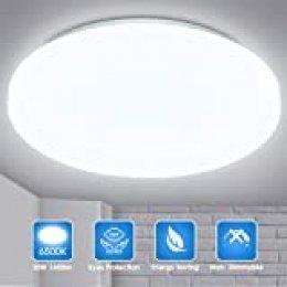 LED Lámpara de Techo, Fulighture 20w Moderna Plafón Led de Techo Redonda 1600LM, Equivalente a 180W Lámpara Incandescente Lámpara, para Sala de Estar Comedor Balcón, 6500K Blanco Frío(NO impermeable)