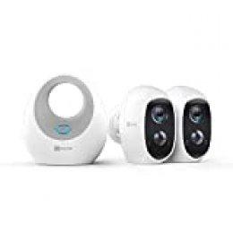 EZVIZ C3A - Cámara con Batería, Sistema de Seguridad y Vídeo Vigilancia, Duo Pack con W2D, WiFi 2.4 GHz 1080p FHD, Exterior/Interior, Visión Nocturna, Audio Bidireccional y Recargable