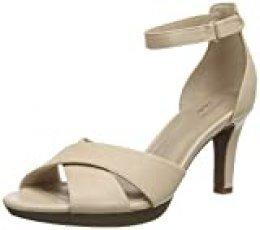 Clarks Adriel Cove, Zapatos con Tacon y Correa de Tobillo para Mujer, Azul (Blush Leather Blush Leather), 38 EU