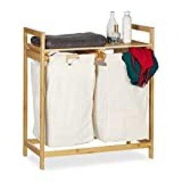Relaxdays Centro para la Colada, Separador de Ropa Sucia, Dos Compartimentos, Portátil, 60 L, 1 Ud, Marrón, bambú, poliéster, Natural