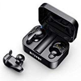 Mini Auriculares Bluetooth, BlitzWolf Bluetooth 5.0 Mini Twins Estéreo In-Ear Auriculares Inalambricos, Auriculares Wireless 3D Estéreo Sonido, Micrófono Incorporado, Estuche de Carga Portátil(Negro)