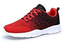 DAFENP Zapatos Zapatillas Running Deporte Mujer Sneakers Unisex,XZ747-M-redblack-EU45