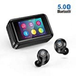 Auriculares inalámbricos Bluetooth 5.0 con Reproductor, [Último diseño 2020] Pantalla Táctil LCD estéreo HD Mini Auriculares Bluetooth movil con micrófono Impermeable IPX7 para Android, iOS, TV