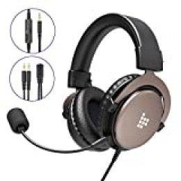 Tronsmart Auriculares profesionales para juegos de 3.5 mm con micrófono de sonido estéreo con cancelación de ruido,bajos intensivos para computadora,ordenador portátil,Mac,PS4,Xbox One y PC