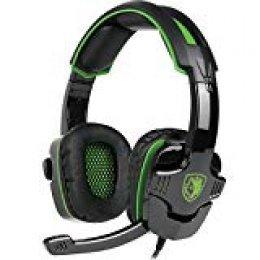 Auriculares Gaming para PS4 PC,Sades SA930 Cascos Ruido Reducción de Diademas Cerrados Profesional con Micrófono Limpio Sonido 3.5mm Compatible Xbox One Tablet Portátil Mac(Verde)