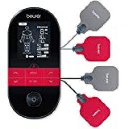 Beurer EM59 Electroestimulador digital con función calor, tens, ems y masaje, 2 canales, función calor, 4 electrodos, con pads de gel, intensidad regulable, temporizador, color negro rojo
