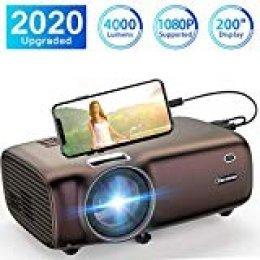 Proyector Excelvan, 1080P Proyector 4000 lúmenes Proyector Mini HD para Entretenimiento en el hogar Conectar con computadora portátil TV Box Teléfono PS4 Xbox TV Stick