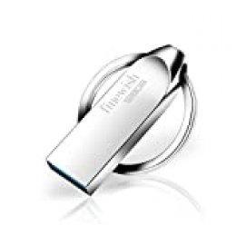 Memoria USB 32 GB, Mini Pen Drive 32 GB Memoria Flash Metal USB 32GB con Llavero para Computadoras, Tabletas Almacenamiento de Datos Externo (Gris)