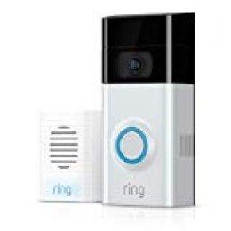 Ring 8VR1S7- 0EU0 - Video Doorbell 2, videoportero con video 1080p HD (Wifi, detecciòn de movimiento), Nìquel Satinado + Ring 8AC3S5-0EU0- Chime, timbre interior para portero, blanco