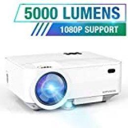 "HOPVISION Mini Proyector 1080P Full HD,Proyector Portátil de 5000 Lúmenes con Pantalla Máx de 180"",Proyector LED de 60000 Horas,Proyector Cine en Casa Compatible con HDMI/AV/USB/SD/VGA"