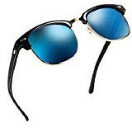 NWOUIIAY Gafas de Sol Casual Elegante Clásico para Hombres y Mujeres para Bloquear Eficazmente los Dañinos Rayos UVA, UVB y UVC con Lente TAC de Marco de Nylon (Azul cielo)