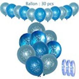 30 piezas de decoraciones de cumpleaños para niños Globos de 1 año Azul claro,12 '' uno.Globos de látex de helio con cuentas impresas para niños Fiesta de bautismo Decoración de Baby Shower (xl 30cm)