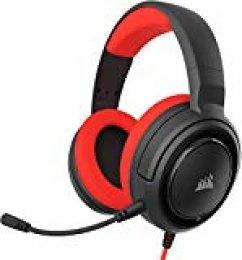 Corsair HS35 - Auriculares Stereo para Juegos (Membrana Neodimio de 50 mm, Micrófono Unidireccional Extraíble, Estructura Ligera, Compatible con Xbox One, PS4, Nintendo Switch y Móviles), Rojo