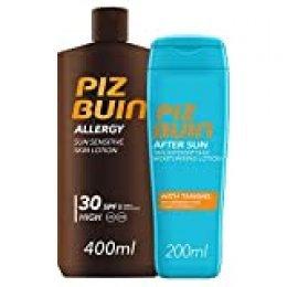 Piz Buin, Allergy, Loción Piel Sensible al Sol, Cuerpo, SPF 30, Protección alta, 400ml +After Sun Loción Intensificadora del bronceado,200ml