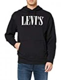 Levi's Relaxed Graphic Hoodie Capucha, Negro (90's Serif Logo Pop Mineral Black 0018), XX-Large para Hombre