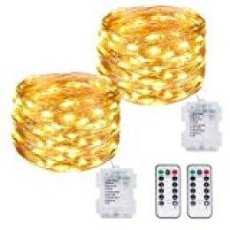 Litogo Luces LED Pilas, Guirnalda Luces Pilas [2 Pack], 12m 120 LED Luces LED Decoracion 8 Modos Impermeable Luces LED Cadena Micro con Función de Temporizador para Decoración Bodas Fiesta de Navidad