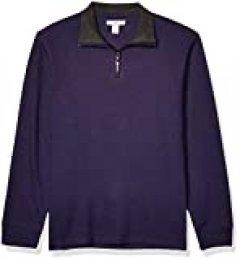 Amazon Essentials - Jersey estándar de hombre con acanalado francés y cremallera corta en el cuello