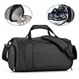 KONKY Bolsa de Deporte Impermeable Hombres y Mujeres, Bolsa de Viaje Bolsa de Gimnasio con Compartimento para Zapatos y Ropa Mojada, Weekend Bag Duffle Bag con Correa de Correa Ajustable, Negro