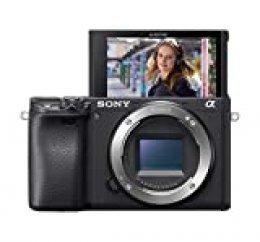 Sony α6400  - Cuerpo de cámara sin espejo compacto con montura E (sensor APS-C, enfoque automático rápido, AF en tiempo real y seguimiento en tiempo real, grabación de películas 4K HDR)