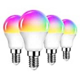 4 Unidades 6W Bombillas Inteligentes Golf LED E14 RGB WiFi, P45 Equivalente a 40W, 470 Lúmenes, Funciona con Alexa, Google Home y Smart Life, ANWIO.
