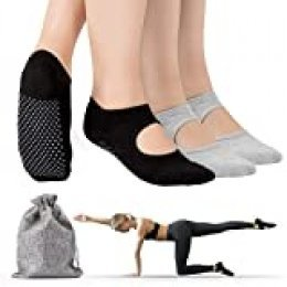 Tusscle Calcetines Yoga, 2 Pares Pilates Calcetines Antideslizantes Mujer pour Yoga, Pilates, Ballet,Fitness Antideslizantes [Negro + Gris, M (35-41)] … (Ligero y Compacto)