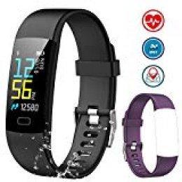 NAIXUES Pulsera Actividad Inteligente Pantalla Color, Pulsera Actividad con Oxígeno en Sangre, Monitor de Ritmo Cardíaco y Sueño, Podómetro GPS, Cronómetro, IP 67 Reloj Inteligente para iOS y Android