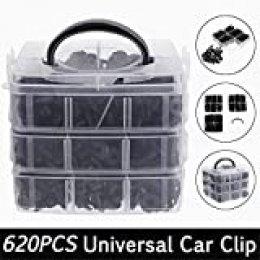 JIUZHI 620pcs Clips para Fijación de Parachoques, Piezas Remaches Plásticos para Coche Guardabarros Parachoques Retenedores, con caja de almacenamiento