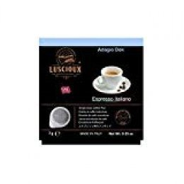 Luscioux Adagio Dek cápsulas ESE 44 mm |Aroma intenso descafeinado. Paquete de 100 cápsulas