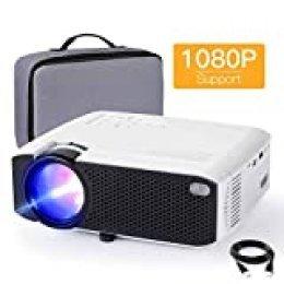Proyector APEMAN 3800 Lúmen Mini Proyector Portátil LCD Proyector de Cine en Casa 50000 Horas Soporte de Pantalla 1080P HDMI / VGA / USB / SD / AV (Bolsa de Transporte incluida)