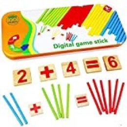 Natureich Montessori Juguete educativo de matemáticas de madera con caja de metal incluida para almacenar Aprendizaje de números con varillas de madera Coloridas