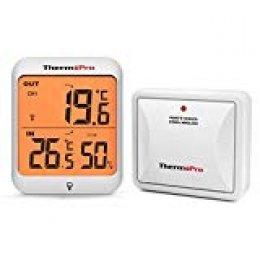 ThermoPro TP63 Termómetro Higrómetro Digital, Medidor de Termohigrómetro Inalámbrico para Interiores y Exteriores con Sensor a Prueba de Intemperie y Recargable, Pantalla LCD Grande, Rango de 60 m